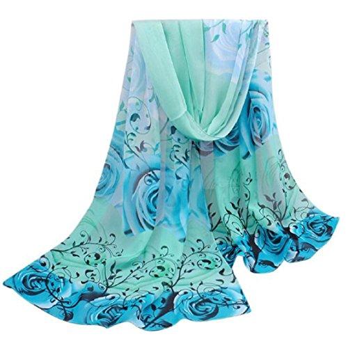 Vovotrade®Frauen Schöne Rosen-Muster Chiffon-Schal-Verpackungs-Schal-Schals Wraps (Blau)