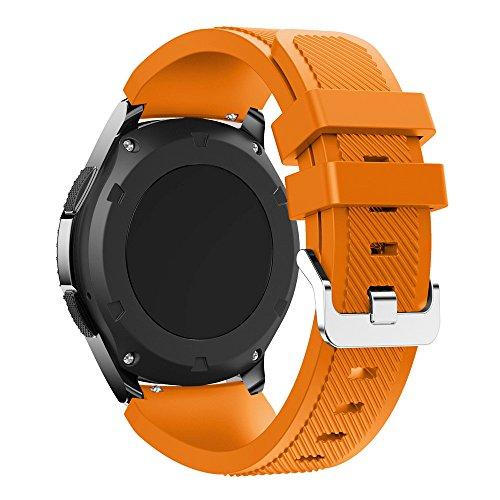 Patifia Uhrenarmband Sport Silikon Armband für Samsung Gear S3(Fits Handgelenke 6 bis 8 Zoll) Classic Frontier Weicher Silikonarmband für Samsung Galaxy Watch 46mm Ersatzarmband (4,92-8,50)