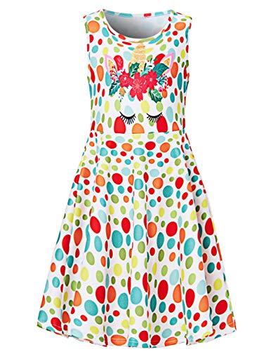 Fanient Mädchen Punkte Grafik ärmellose Röcke Kleider Kinder One Piece Kleider Schulparty Freizeit Prinzessin Dress10-12 Jahre -