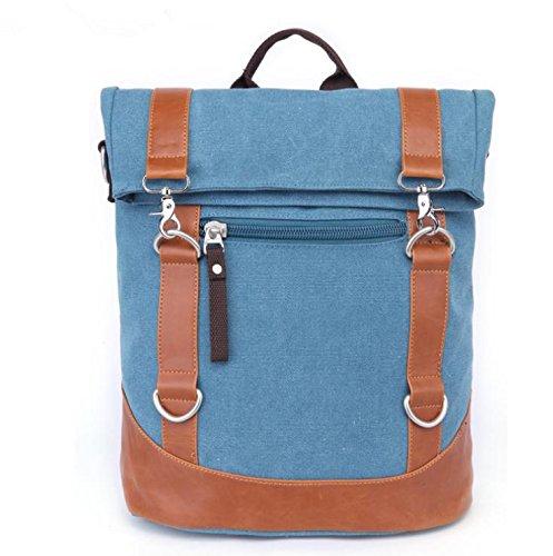 &ZHOU Borsa di tela, Borsa a tracolla diagonale pacchetto borsa zaino computer borsa multifunzionale moda casual tela borsa unisex , black Blue