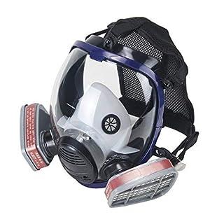 OHMOTOR Full Face Respirator Mask Activated Carbon Respirator Masks for Organic Vapor Double Air Filter Cartridge