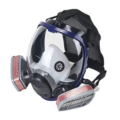 OHMOTOR Vollmaske Atemschutzmaske mit Luftfilterpatrone Vollgesichtsmaske für organische Dunst (Masken & 2pcs*Filters)