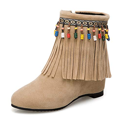 POLLYEDEN Women's Suede Fringed Tassels Hidden Wedge Heel Ankle Boots Girls Flat Western Moccasin Bootie -