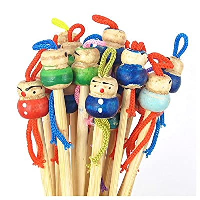 SODIAL(R) Bamboo Japanese Doll Ear Wax Pick Spoons Earwax Remover 20pcs