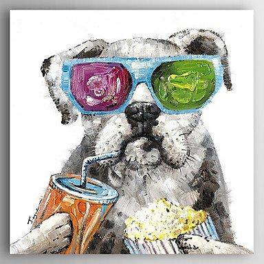 Ein Hund mit Hand-Painted Glassess Leinwand Öl Malerei WithoutStretcher für Dekoration, ohne Innenrahmen, 24