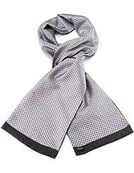 Mailando Herrenschal aus Kaschmir-Woll-Mix und Seide, Kachel Muster gepunktet, sehr elegant, anthrazit (grau) – weiss