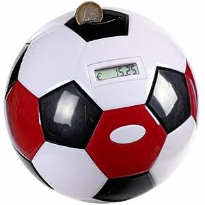 Tirelire Electronique Ballon Football Foot- Compteur digital - Couleur : Rouge