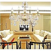 Lámpara de araña -Homelava Lámpara de Techo de Cristal con 6 Luces Diámetro de 43 cm para Salón, Comedor, Habitaciones,Hotel y Bar