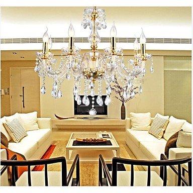Homelava Kronleuchter Kristall Gold mit 6 Leuchten Durchmesser 58 cm für Wohnzimmer, Esszimmer, Hotel and Bar (Kronleuchter Leuchten)