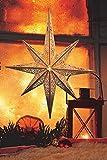 LED Stern aus Holz/ Ø 52 cm / mit 10 LEDs beleuchtet / mit Fernbedienung / kabellos /  Weihnachtsstern mit Muster / Holzstern / Fensterstern