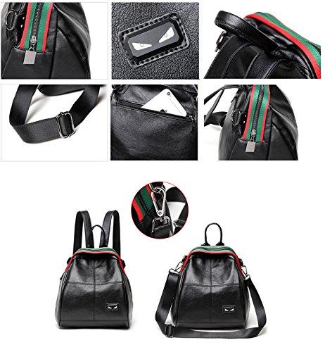 SAIERLONG Zaino Borsa Donna Pelle Vintage Casual Ragazze Travel Lusso Trekking Robusta Elegante Università Lavoro,(Nero /bianco) Nero /bianco