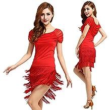 Vestido de danza latina con flequillos BellyQueen, color rojo, tamaño XXXL