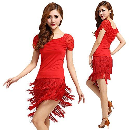 BellyQueen Tanzkostüm für Damen, für lateinamerikanischen Tanz, Kostümset mit Rock mit Fransen, Kleidung für Square Dance Aufführung, rot, xxxl
