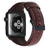 Per Apple Watch 38 mm cinturino di ricambio in vera pelle per iWatch Band con connettori in metallo inossidabile per Apple Watch Series 3/2/1