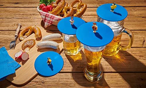 Lurch 210300 Mein Mein Deckel Biergarten 4er Set Glasabdeckungen mit lustigen Figuren - Abdeckung Deckel