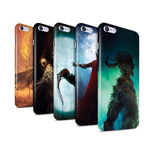 Offiziell Chris Cold Hülle / Glanz Snap-On Case für Apple iPhone 6+/Plus 5.5 / Gevatter Tod Muster / Dämonisches Tier Kollektion Pack 6pcs