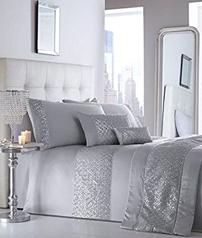KING SIZE LUXURY DUVET SETS Grey or white with silver sequin & diamante trim (Duvet Set + Cushion (no runner), Silver)