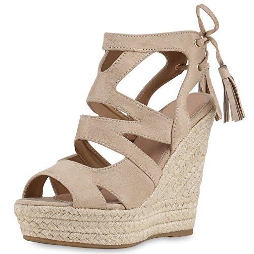 SCARPE VITA Damen Sandaletten Bast Keilabsatz Espadrilles Wedges Schuhe 160581 Creme Quasten 36