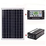 TOOGOO 18v20w Panel + 12v / 24v Controller + 1500w Inverter Ac220v Kit, Adatto A Sistema All'aperto E Casa Ac220v Solar Energy-Saving Power Generation(50a)