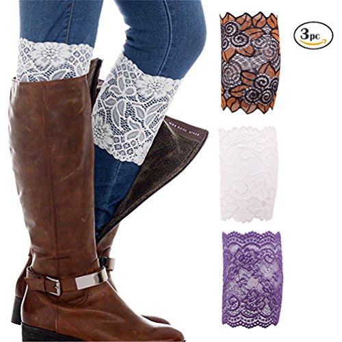 auen Elastische Blumenspitze Boot Manschetten Stretch Beinlinge Trim Topper Socken Dekoration (Halloween-dekorationen Hexen Beine)