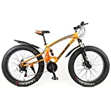 Design 2018 Fatbike Orange Farbe 26 Zoll 21 Gang Vollfederung Shimano Fat Tyre Modell Mountainbike Gold 47 cm RH Snow Bike Fat Bike