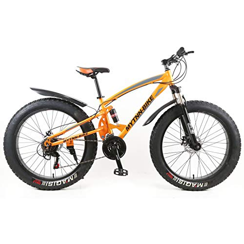 Design 2018 Fatbike Orange Farbe 26 Zoll 21 Gang Vollfederung Shimano Fat Tyre Modell Mountainbike Gold 47 cm RH Snow Bike Fat Bike
