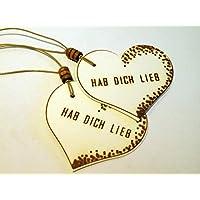 Geschenkanhänger HAB DICH LIEB/ 2 STÜCK/ Präsentanhänger/ Valentinstag/ Herzanhänger/ Geschenkdekoration/ Glückwunschkärtchen/ Gift Tag/ Deko - Anhänger/ Holzschliffpappe/ Naturdeko