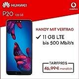 Vodafone Huawei P20 mit 128 GB internem Speicher, Smart XL inkl. 11GB Highspeed Volumen mit Max 500 Mbits, inkl. Telefonie- und SMS Flat, EU-Roaming, 24 Monate min. Laufzeit, mtl. 46, 99 Schwarz