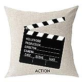 Nicegift Film TV Series clap-Stick Director Action Cotton Linen Square Throw Waist Pillow Case Decorative Cushion Cover Pillowcase Sofa 18