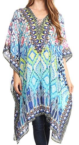Sakkas P2 - Kristy Long Tall Leichtes Kaftan Kleid/Cover mit V-Ausschnitt Juwelen - 17118-BlackTurq - OS Bejeweled Damen