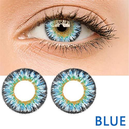 bulrusely Make-up-Zubehör für Mädchen, EIN Jahr, ändert die Augenfarbe natürlich, Cosplay, Halloween-Party, etc. 1 Paar (Funktion ohne Korrektur, 0 Grad) blau