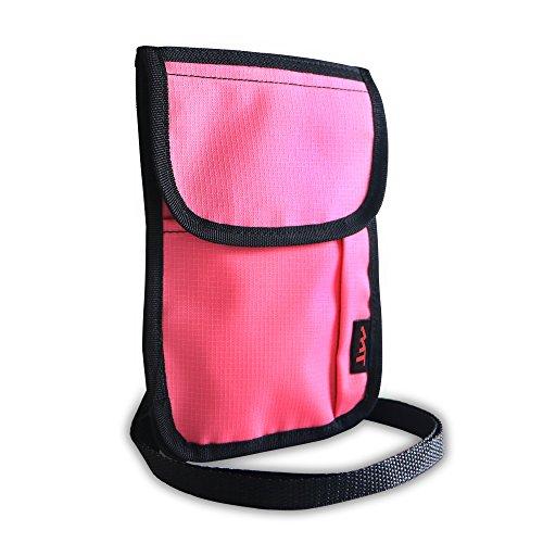 RFID Passport Pouch Versteckte Tasche–Mingtong Travel Passport holder Security Geldbörse Handy Wasserdichter Brustbeutel mit Gurt...