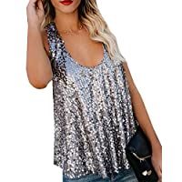 Unko Sequin Tank Tops for Women Sleeveless Loose Racerback Sparkle Shimmer Tank Tops Silver XS