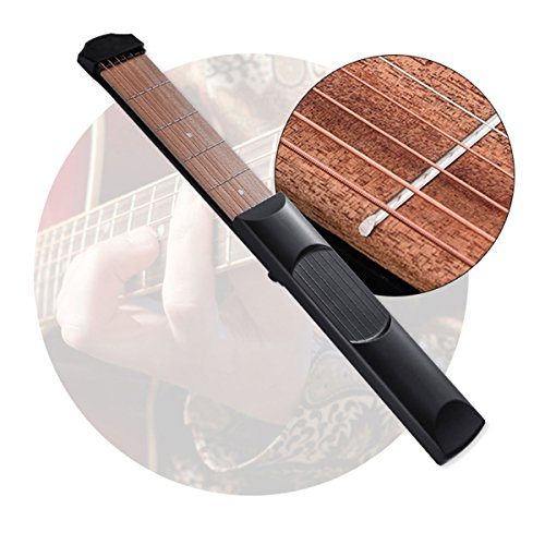 6 Fret Portable Wooden Pocket Guitar Practice Tool Gadget for Beginner Chord Trainer with 5 Pcs Silicone Fingertip Protectors,2 Pcs 0.71mm Guitar Picks and Finger Strengthener