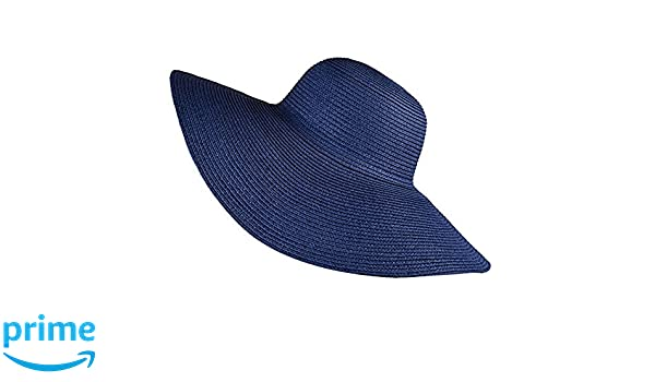 8915cfb235799 Hotaru Fashion Women Gril Summer Sun Hat Blue Adjustable Packable Roll up Big  Brim Beach Floopy Hat  Amazon.co.uk  Clothing