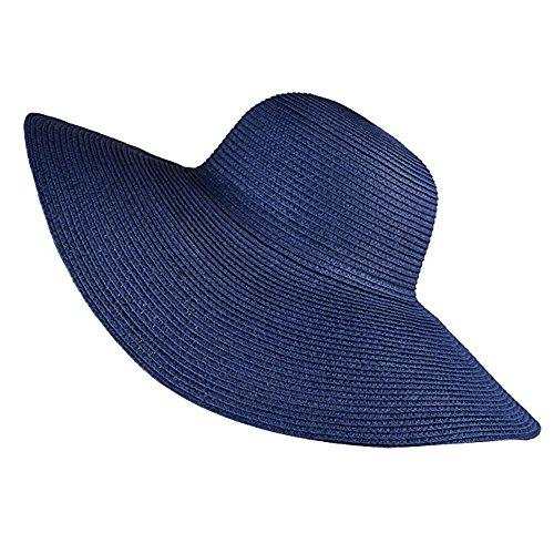 Hotaru Mode Frauen Mädchen Sommer Sonnenhut Blau Einstellbare Packable Roll UP Big Brim Strand Floppy Hut HAT007 (Hart, Hut, Zubehör)