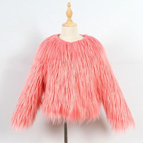 Girl Faux Fur Coat, vmree Fur Autumn Winter Warm Jacket Girls Thick Clothes (7T, Pink)