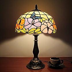 12 pulgadas mariposa de la vendimia pastoral flores magníficas vidrieras Tiffany estilo lámpara de mesa lámpara de dormitorio lámpara de cabecera