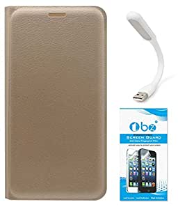 TBZ PU Leather Flip Cover Case for Samsung Z2 with Flexible USB LED Light and Tempered Screen Guard -Golden