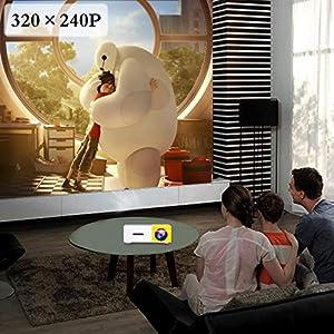Artlii Mini Proyector, Proyector de Bolsillo con la Entrada de USB/SD/AV/HDMI para el Interfaz Teléfono Inteligente/TV/Películas/Juegos/Exposiciones