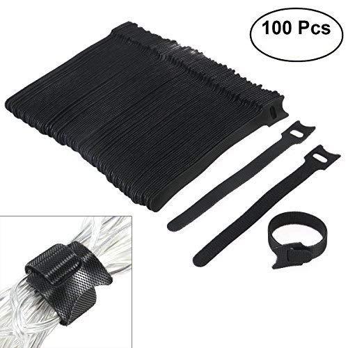 OULII Fascette in nylon, 6 pollici fissaggio fascette con riutilizzabili Hook e Loop cinturino fascette per il fissaggio di organizzatore - 100 Pack (nero)