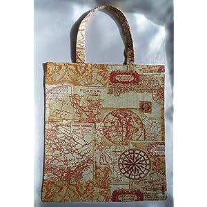 Landkarte Stoff Tasche / Umwelt Beutel / beige rot orange / 100 % Baumwolle
