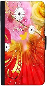 Snoogg Fantasy Flowers Backgrounddesigner Protective Flip Case Cover For Htc ...