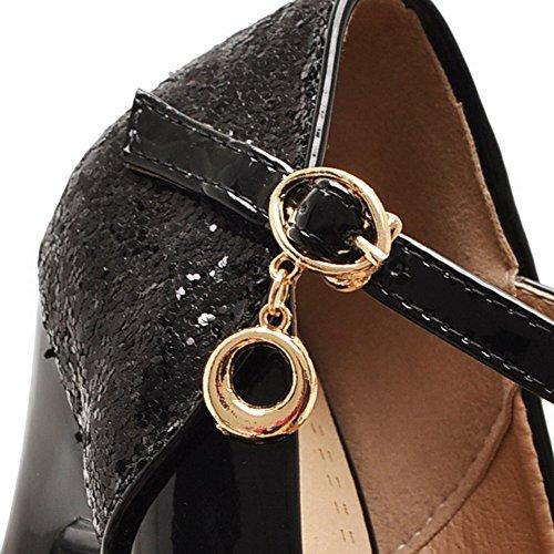 AgooLar Femme Verni Couleur Unie Boucle Rond Stylet Chaussures Légeres Noir