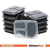 KitchenKool 10-Pack, 3-Compartment Microwave Safe Food Container with Lid/Divided Plate/Bento Box/Lunch Tray with Cover, Black, 32oz