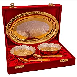 Adidev brass fruit bowl with serving gold spoons