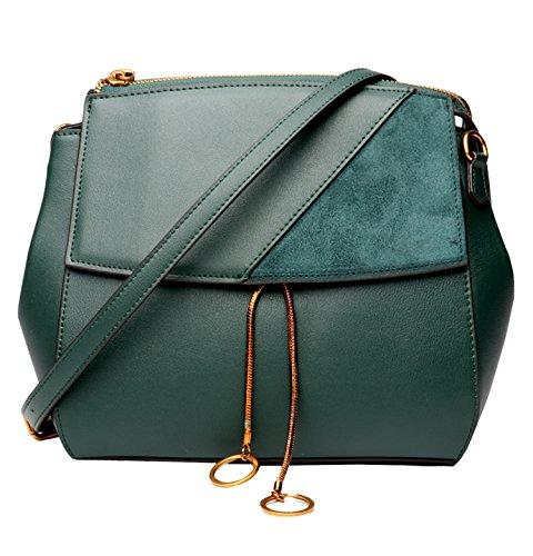 SAIERLONG Nuovo Donna Vino rosso Vera Pelle Borse spalla Crossbody Messenger Bags Verde
