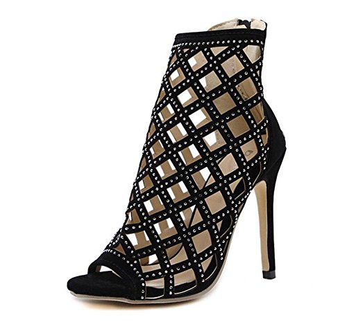 GLTER Frauen-Knöchel-Bügel-Pumpen Rom T-Bühnen-Show-Diamant-hohle hochhackige Sandalen-Blick-Zehe-Schuhe Kegel-Fersen-Gerichts-Schuh-Damen-Pumpen-Schwarzes Black