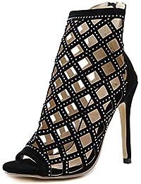 SHINIK Mujeres Ankle Strap Bombas Roma T Stage Show Diamante hueco de tacón alto Sandalias Peep Toe zapatos Cono Heel Corte zapatos damas Bombas Negro , black , 39