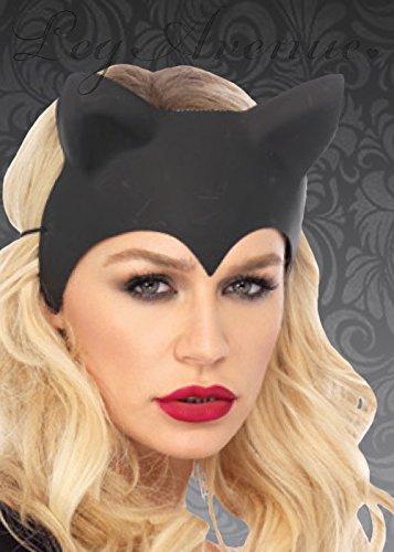 Ohren Catwoman (Womens Black Plastic Catwoman Maske mit)